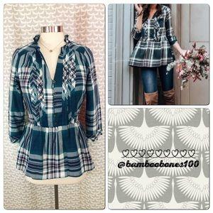 NEW Knox Rose Size XS Peplum Plaid Flannel Shirt